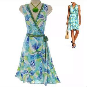 Size 12▪️PRINT TULIP HEM FAUX-WRAP DRESS Summer
